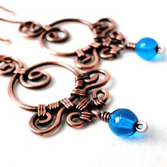 Ornamental Earrings, Wire Wrapped Jewelry, Aqua Blue Glass, Antiqued Copper, Handcrafted Earrings. $31.18, via Etsy.
