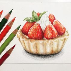 New Fruit Drawing Sketches Food Illustrations Ideas Sweet Drawings, Colorful Drawings, Easy Drawings, Fruit Sketch, Food Sketch, Cake Drawing, Food Drawing, Drawing Drawing, Cake Illustration