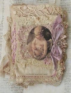 Tecido de mídia mista Colagem Livro de lilás e rendas in Arte, Direto do artista, Técnica mista e colagem | eBay