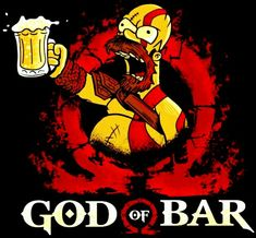 Homer - God of Bar, The Simpsons Tatoo Manga, Simpson Wallpaper Iphone, Geile T-shirts, Kratos God Of War, Simpsons Art, Beer Art, Skull Art, Doodle Art, Cartoon Art
