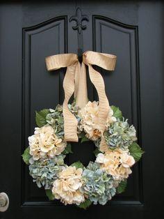Hydrangeas - Housewarming Gift - Year Round Floral Wreath - Door Wreath - Shabby Chic - Country Decor