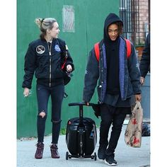 Sarah Snyder rocking Alpha Industries NASA MA-1 Flight Jacket with Jaden Smith in NYC.
