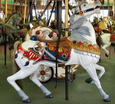 Santa Cruz Beach Boardwalk Carousel Looff Outside Row Stander © Chris Benson