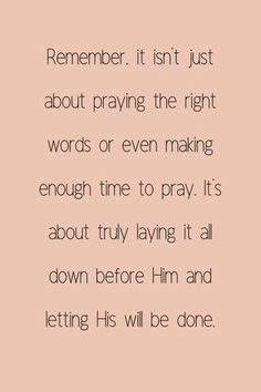 Prayer is not about