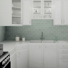 The Tessera Blue Smoke installed in a kitchen.