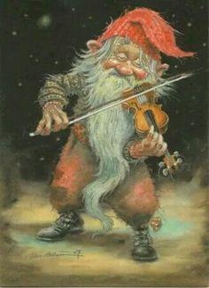 Kjell Midthun - Elves Faeries Gnomes: Gnome with violin. Art And Illustration, Kobold, Elves And Fairies, Fairy Art, Magical Creatures, Goblin, Illustrators, Fantasy Art, Fairy Tales