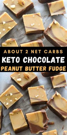 This Low Carb Peanut Butter Chocolate Fudge has about 2 net carbs per slice and is the perfect keto and diabetic-friendly dessert!  #lowcarb #dessert Easy No Bake Desserts, Sugar Free Desserts, Best Dessert Recipes, Candy Recipes, Easy Desserts, Sweet Recipes, Delicious Desserts, Keto Desserts, Keto Snacks