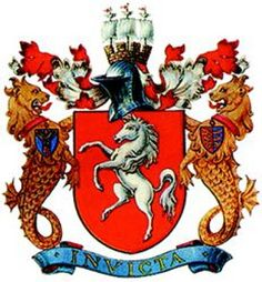 """Kent County Council Coat of Arms Invicta (meaning undefeated or unconquered) was used in Roma invicta meaning """"Unconquered Rome"""" and is the motto of the county of Kent, England. Commonwealth, Horse Rearing, Kent County, Horse Logo, Kent England, Family Crest, Crests, Coat Of Arms, 4th Of July Wreath"""
