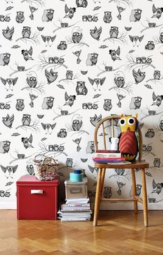 wallpaper...owls on the wall!!!