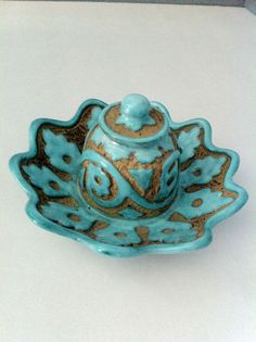 P.V. Peasant Village Italy art pottery turquoise sgraffito inkwell Signed & Numbered . I just bought this on eBay. -Judith Walker's Collection