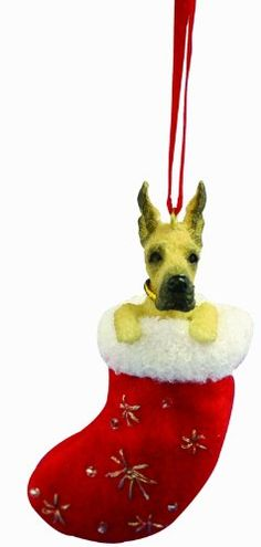 """Great Dane Christmas Stocking Ornament with """"Santa's Little Pals"""" Hand Painted…"""