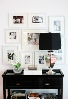 Entry Table In Chic Black Accentuated With A Black And White Wall Gallery. Added Sparkle Of A Silver Base Lamp Decoration Entree, Home And Deco, Home Decor Inspiration, Decor Ideas, Wall Ideas, Entryway Ideas, Diy Ideas, Monday Inspiration, Entrance Ideas