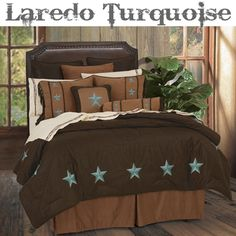 Laredo Turquoise Western Bedding Comforter Set and Accessories
