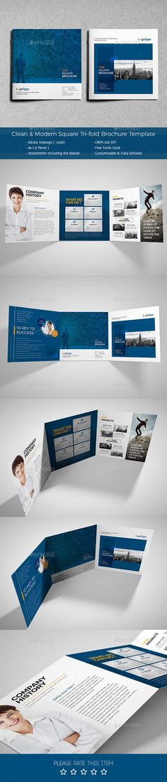 Clean & Modern Square Trifold Brochure — InDesign INDD #marketing #print ready • Available here → https://graphicriver.net/item/clean-modern-square-trifold-brochure/12340282?ref=pxcr