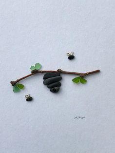 Pebble pebble art 8 x 8 framed pebble bees sea glass bee