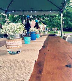 Wooden farm tables.