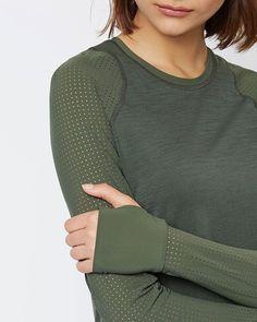 Breeze Long Sleeve Merino Run Top - Olive | long sleeve tops | Sweaty Betty