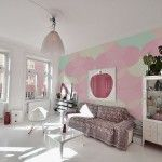 Bright Living Room Decoration Ideas with Girlish Wall Mural in Pink