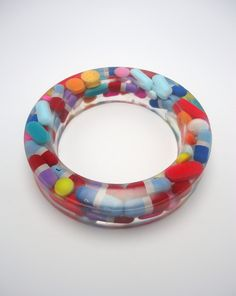 Resin Bangle Bracelet Real Pills Medication  THE QUIET RIOT  (Lindsay Schoettle) -USA