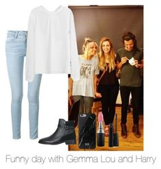 """Funny day with Gemma, Lou and Harry"" by autumnfarmer ❤ liked on Polyvore featuring Frame Denim, Topshop, Native Union, MAC Cosmetics, women's clothing, women's fashion, women, female, woman and misses"
