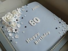 80th Blue Birthday cake