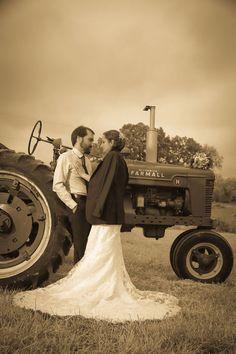 Berryville Virginia Wedding Bride groom and Tractor Vintage Style
