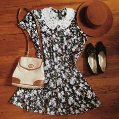 Vintage, dress, floral, fedora, shoes, black, cognac, brown, lace, peter pan collar