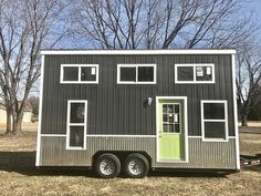 """CLICK """"Photo Gallery"""" for more photos. WE BUILD THE STRONGEST HOMES IN THE INDUSTRY! Chic Shack Lime Green -2016 Year Built -8′ wide x 20′ long x 13'6″ tall -Approx weight 9,600lbs -Trailer size: 8'x20′ 5 1/2″ x 1/4″ thick steel frame, 1/4″ angle iron on 16″ centers, with trailer brakes. -All framing reinforced with…"""