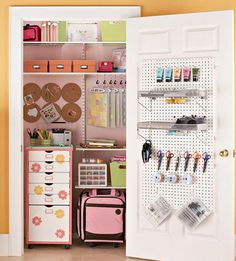 A Crafting Closet. Tuck supplies into assorted boxes and store them inside a spare closet keeping small essentials organized in labeled plastic bins or colorful cardboard boxes.
