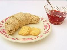 Knit a Croissant With a Pat of Butter For Croissant Day – 100% Fiber, No Calories! #knitting