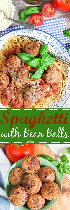 These vegan spaghetti with bean balls are perfect for quick weeknight dinners. They're super delicious and so easy to make! #vegan #beans #pasta aanpassen voor slowcooker?