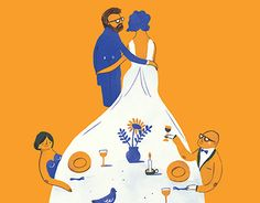 Illustration and wedding invitation design for the happy couple Tom & Karlien