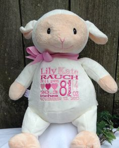 Personalized Baby Gift Monogrammed Lamb Birth Announment by WorldClassEmbroidery, $39.99