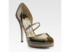 Jimmy Choo leather Mary Jane peep toe Pumps - Glod    Tag: Discount authentic Jimmy Choo Pumps on sales, Cheap Jimmy Choo Pumps New Arrivals, Original Jimmy Choo Pumps outlet, Wholesales Jimmy Choo Pumps store