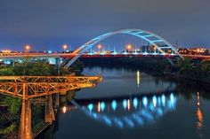 Korean War Veterans Memorial Bridge in Nashville Tennessee Light Up Teal International Trigeminal Neuralgia Awareness Day…