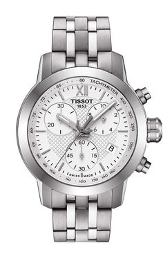 Tissot PRC 200 Fencing Lady Quartz Chronograph White Dial Watch with Stainless Steel Bracelet