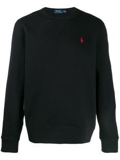 Black cotton blend logo embroidered jumper from Polo Ralph Lauren featuring a round neck, long sleeves, a ribbed hem and cuffs and a contrast embroidered logo at the chest. Polo Ralph Lauren, Mens Sweatshirts, Sweater Hoodie, Black Cotton, Menswear, Cuffs, Contrast, Rich Girl, Logo