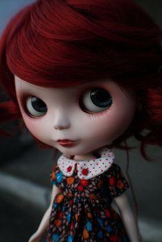 blythe doll Ginger in cute handmade dress.