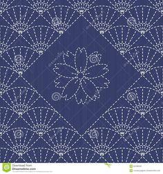 Традиционный японский орнамент вышивки с вентиляторами и Сакура цветут Иллюстрация вектора - изображение: 50186503