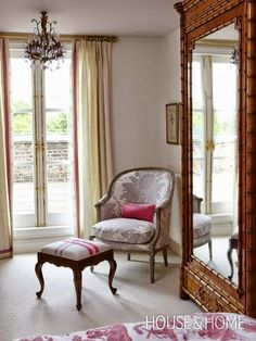 sarah richardson love the stripe on traditional stool and LOVE the armoire