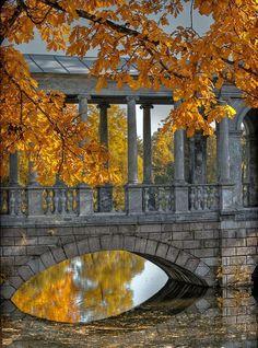 Fall bridge at Aleksandrovsky garden, Moscow