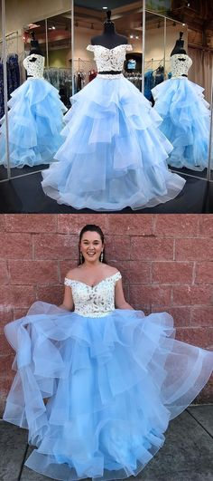 2018 two piece long prom dress, white and blue long prom dress, off the shoulder white lace and blue skirt