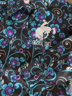 CRUEL GIRL toddler COWGIRL Western Shirt FLORAL ~ PURPLE RHINESTONE SNAPS !!  L/S 3T NWT  $24.99! lots more cruel girl youth shirts on sale! BAHA RANCH WESTERN WEAR EBAY SELLER ID SOLOEDITION