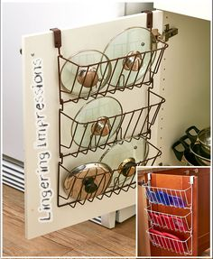 "Perfect for pot lids, container lids and more, this organizer hangs from the inside of a cabinet door, utilizing otherwise empty space. It has 3 tiers to maximize storage space. 12-3/4""W x 5""D x 20-3/8""H. Metal. 