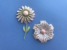 2 Vintage 1970's Pin Brooches  Large Enameled Layered