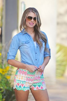 Kiss And Pastel Aztec Shorts from Closet Candy Boutique