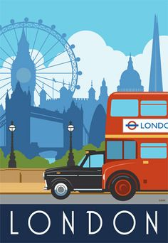 Art print poster of London Taxi Bus Tower Bridge by WhiteOneSugar, £18.00