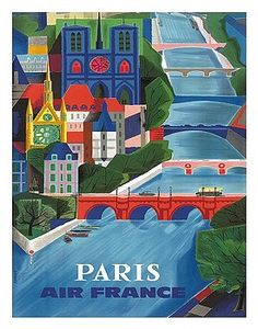 paris,france,air france,seine river,vintage,airline,travel poster,jean vernier,french,parisian,paris scene,bridge,french painting,vintage travel poster,retro,poster art,vintage advertising,vintage travel