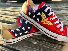 We have the shoes for you! Wonder Woman Shoes, Wonder Woman Outfit, Woman Mask, Wonder Woman Birthday, Comic Clothes, Galaxy Shoes, Justice League Wonder Woman, Super Hero Outfits, Shoe Art
