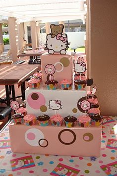 not so much the hello kitty, but the idea of using boxes for cupcake stand ;)